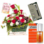 Season's Fresh - Basket 20 Mix Flowers + Jovan Musk Perfume + Pen