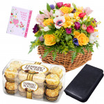 Bloomingdale - Basket 30 Mix Flowers + Ferrero Rocher 16pcs + Cd Case