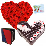 Affection - 50 Red Roses Heart + Heart Shape Cake 1kg + Cd Holder