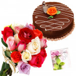 Feeling Friendly - 12 Mix Roses Bunch + Chocolate Cake 1/2kg