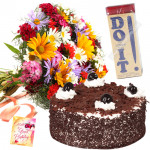 Colourful Wishes - Bunch 20 Mix Flowers + Do It Perfume + Cake 1/2kg