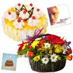 Floral Alliance - Basket 20 Mix Flowers + Cake 1/2kg + Songs Of Gulzar's Music Cd