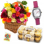 Life Is Beautiful - Basket 30 Mix Roses + Ferrero Rocher 16pcs + Sonata Watch