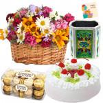 Gerberas Delight - Basket Of 25 Mix Flowers + Cake 1/2kg + Ferrero Rocher 16pcs + Pen Stand