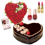 My Heart For You - 50 Red Roses Heart Shaped + Cake 1kg + 2 Lipstick + 2 Nail Polish