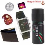 Amazing Brother Combo - Axe Deodorant, Leather Wallet, Sonata Watch Silver Dial with Bhaidooj Tikka and Laxmi-Ganesha Coin