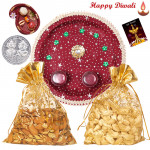 Healthy Thali Tikka - Almond & Cashew in Potali, Puja Thali (M) with Bhaidooj Tikka and Laxmi-Ganesha Coin