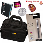Brothers Wonder - Black Laptop Bag, Parker Pen, Notebook Diary with Bhaidooj Tikka and Laxmi-Ganesha Coin