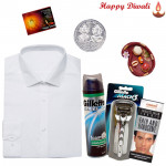 Fabulous Hamper - Peter England White Shirt, Gillette Razor, Gillette Shaving Foam, Handsome Cream with Bhaidooj Tikka and Laxmi-Ganesha Coin