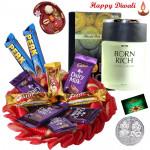 Filled with Love - Cadbury Chocolates Bars, Riya Born Rich Perfume with Bhaidooj Tikka and Laxmi-Ganesha Coin