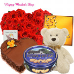 """Big Present - 50 Red Roses Heart Shape, Celebration, Teddy 24"""", Chocolate Heart Cake 1 kg, Danish Butter Cookies 454 gms and Card"""