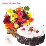 Big Time Celebration - 100 Mix Roses Basket, 1 Kg Black Forest Cake and Card