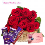 Cadbury with Roses - 15 Red Roses Basket, 2 Dairy Milk, Cadbury Fruit & Nut and Card