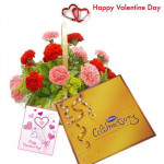 Carnations Special - 15 Mix Carnations in Basket, Cadbury Celebration and Card