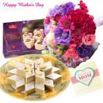 Carnations n Sweets - 12 Mix Carnations, Haldiram Soan Papdi 250 gms, Kaju Katli 250 gms and Card