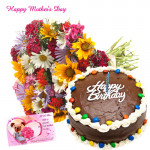 Carnations for Mom - 12 Mix Carnations in Bunch, 1/2 kg Chocolate Cake and Card