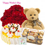 "Carnations Special - 10 Red Carnations, Teddy 6"", 16 Pcs Ferrero Rocher, 1 Kg Pineapple Cake and Card"