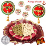 Cashew & Rainsin Delight - Cashew Rainsin 200 gms in Box, Decorative Thali, Round Shubh Labh with 4 Diyas and Laxmi-Ganesha Coin