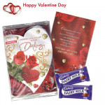 Valentine Love Card - Valentine Musical Greeting Card + 2 Dairy Milk 40 gms each