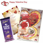 Romantic Feelings - Valentine Musical Greeting Card + Dairy Milk Silk 160 gms