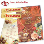 For My Beloved - Valentine Greeting Card with Music & Light + 2 Toblerone 50 gms each