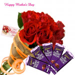 Celebrations with Mom - Bunch of 12 Red Roses, 5 Dairy Milk 14 gms each and Card
