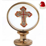 Round Gold Cross Stand