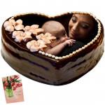 1 Kg Heart Shaped Chocolate Photo Cake & Card