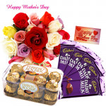 Choco Delight - 12 Mix Roses in Bunch, Ferrero Rocher 16 pcs, 5 Dairy Milk and Card