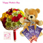 "Chocolate n Teddy - 50 Assorted Flowers in Bunch, Teddy 12"", 3 Dairy Milk Silk 69gms each and Card"
