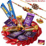 Assorted Cadbury Thali - Assorted Bars 10 Pcs, Decorative Thali (R) with 2 Rakhi and Roli-Chawal