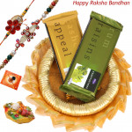 Temptation Tray - Temptation 2 Pcs, Decorative Thali (G) with 2 Rakhi and Roli-Chawal