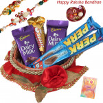 Assorted Choco Basket - Assorted Chocolates Bar 5 Pcs, Decorative Basket with 2 Rakhi and Roli-Chawal