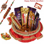 Yummy Chocolate Basket - Dairy Milk 3 Pcs, Five Star 3 Pcs, Decorative Basket with 2 Rakhi and Roli-Chawal