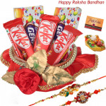 Lovely Chocolate Basket - 3 Kitkat, 2 Gems, Decorative Basket with 2 Rakhi and Roli-Chawal