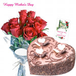 Chocolaty Love - Bunch of 15 Red Roses, Chocolate Heart Cake 2 kg and Card
