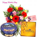 Choco n Cookies - 50 Assorted Flowers, Danish Cookies 454 gms, Celebrations and Card