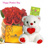 "Choco with Teddy - Bunch of 15 Red Roses, Celebration, Teddy with Heart 6"" and Card"