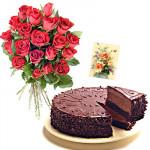 Roses N Cake - 12 Red Roses Bunch + 1/2 kg Cake