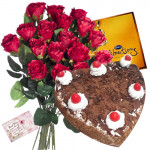 Lovable Gift - Bunch of 12 Red Roses + Heart Shaped Black Forest Cake 1 kg + Cadbury Celebrations + Card