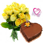 Yellow Roses N Cake - Bunch 15 Yellow Roses + 1 Kg Heart Shape Chocolate Cake + Card