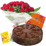 Loving Surprise - Bunch 20 Red Roses + 1/2 Kg Chocolate Cake + Cadbury Celebration + Card