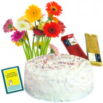 Heartful Combo - Bunch 12 Mix Gerberas + 1/2 Kg Vanilla Cake + 2 Temptations + Card