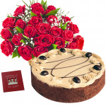 Special Treat - 20 Red Roses Basket + 1 Kg Chocolate Truffle Cake + Card