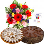 Sweet Moments - Bunch 12 Mix Flowers + Kaju Katli + 1/2 Kg Cake + Card