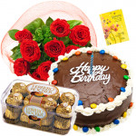 Splendid Surprise - Bunch Of 12 Red Roses + 1/2 Kg Chocolate Cake + Ferrero Rocher 16 Pcs + Card