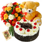 Just For You - Bunch 12 Mix Roses + 1/2 Kg Black Forest Cake + Teddy 6 Inch + Card