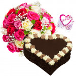 Choco Delight - Bunch of 12 Mix Roses + Heart Shaped Chocolate Cake 1 kg + Card