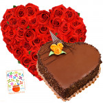 Rich Combination 1 Kg - Heart Shape Basket of 30 Red Roses + Heart Shaped Chocolate Cake 1 kg + Card