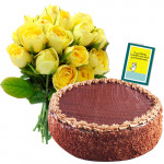 Sweet Blossom - Bunch 12 Yellow Roses + 1/2 kg Chocolate Cake + Card